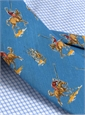 Silk Print Polo Player Motif Tie in Cornflower