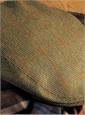 Wool Garforth Cap in Olive Birdseye with Rust Windowpanes