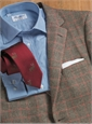 Cream and Chocolate Glen Plaid Cashmere Sport Coat with Red Windowpane
