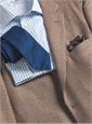 Nut Brown and Straw Glen Plaid Cashmere Sport Coat with Blue Overcheck