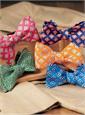 Silk Print Diamond Motif Bow Tie in Fuchsia