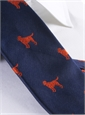Silk Woven Tie with a Labrador Motif in Navy with Tangerine
