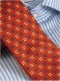 Silk Print Neat Square Tie in Orange with Navy