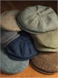 Wool Aberford Cap in Mint and Cream Herringbone