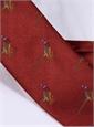 Jacquard Woven Pheasant Motif Tie in Ruby