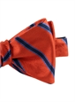 Silk Stripe Bow Tie in Chilli and Navy