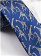 Silk Woven Giraffe Motif Tie in Royal