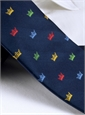 Silk Woven Crown Motif Tie in Navy