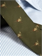 Silk Woven Pheasant Motif Tie in Olive