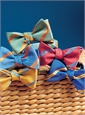 Mogador Silk Double Stripe Bow in Brass with Cobalt