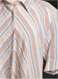 Ladies Linen Flair Striped Dress Pink/Red/Royal