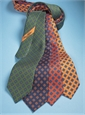 Silk Print Tie with a Diamond Motif in Navy