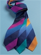 Silk Woven Multi Stripe Tie in Saffron, Cornflower, Navy