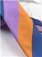 Silk Block Stripe Tie in Violet, Navy and Tangerine