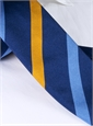 Silk Multi Stripe Tie in Navy and Gold