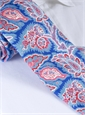 Silk Leaf Paisley Print Tie in Royal