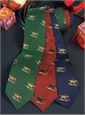 Silk Christmas Tie with Woven Sledding Labs in Red