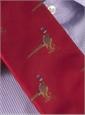 Silk Woven Pheasant Motif Tie in Fire