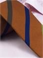 Silk and Cotton Woven Multi Bar Stripe Tie in Beech