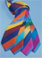 Silk Multi Color Stripe Tie in Orange, Persian, Brass, Claret and Storm Blue