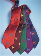 Silk Woven Tie with a Labrador Motif in Magenta