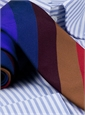 Silk and Cotton Multi Stripe in Violet, Fire, Regal, Wine, and Beech