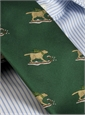 Silk Christmas Tie with Woven Sledding Labs in Forest
