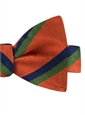 Silk Multi-Color Double Stripe Bow Tie in Tangerine