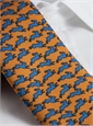 Silk Print Rabbit Motif Tie in Marigold