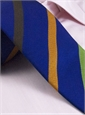 Silk and Cotton Woven Multi Bar Stripe Tie in Marine