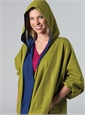 Marie Meunier Reversible Silk Raincoat in Green and Blue