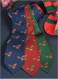 Silk Christmas Tie with Woven Sleigh and Pups in Red