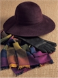 Cashmere Madras Check Scarf in Mulberry