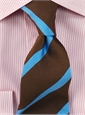 Woven Bar Stripe Tie Brown/Sky