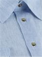 Charleston Linen Shirt in Blue and White Hairline Stripe