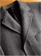 Wool and Cashmere Overcoat in Grey Herringbone