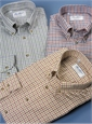 Cotton and Cashmere Button Down with Tattersall Check in Burnt Orange, Mustard, and Chocolate