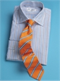 Sky Ground with Tangerine and Cobalt Stripes Bordered in White Spread Collar
