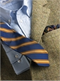 Silk and Cotton Woven Stripe Tie in Marine