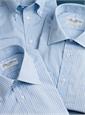 Silk and Cotton Woven Stripe Tie in Marine