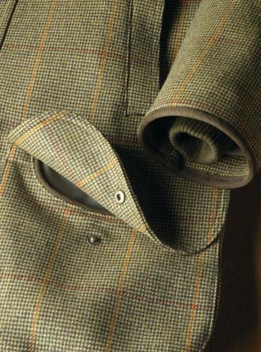 Olive Houndstooth Tweed Field Coat