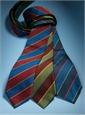 Silk Block Stripe Tie in Navy and Azure