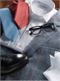 Classic Blue Twill with White Spread Collar