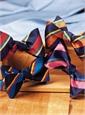Silk Stripe Bow Tie in Tangerine