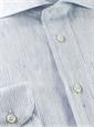 Broken Blue Pinstripe on White Cutaway in Linen