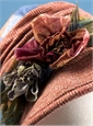 Ladies Wool Herringbone Hat in Rose with Floral Embellishments