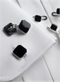 Sterling Silver Black Enameled Cufflink and Stud Sets