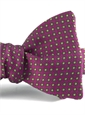 Silk Print Bow with a Square Motif in Fuchsia