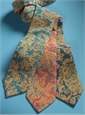 Silk Floral Printed Tie in Navy