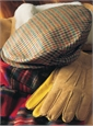Wool Helmsley Check Cap in Tan with Green, Blue, and Red